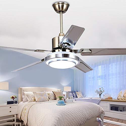 Kaluori 52 Zoll Moderne Deckenventilator Licht Mit Fernbedienung 5  Edelstahl Klingen 3 Farb Stumm Energiesparender Ventilator