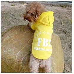 Demarkt Fashion Yellow FBI Dog Cat Puppy Fleece Hoodie Costume Clothes Pet Apparel Superdog Dress Up Pet Supplies Size Small