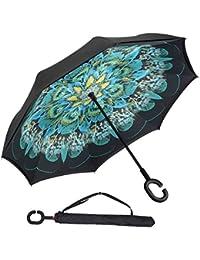Capa Doble Invertido Paraguas Antideslizante y en Forma de C mango a Prueba de Viento de Protección UV Sol y Coche de Lluvia Reversa Plegable Coche Paraguas Inversa Paraguas