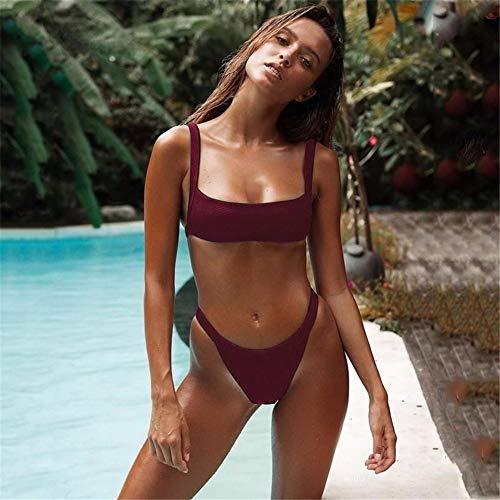wangjian& Sommer Frauen Bikini Badeanzug Dreieck Badende Badeanzug Bikini, Rotwein, S