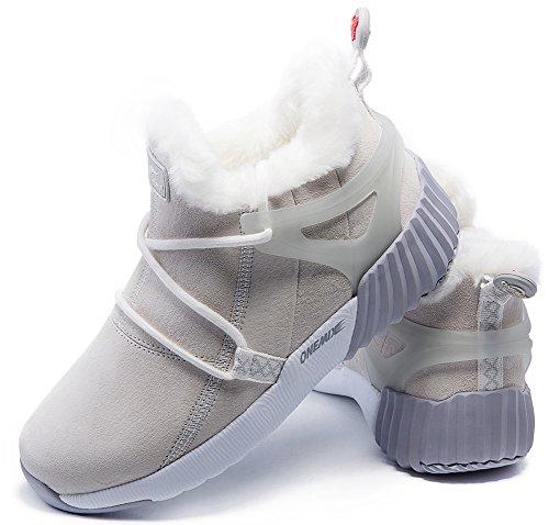 ONEMIX Uomo Donna Stivali Scarpe Invernali Calde da Passeggio Antiscivolo Ginnastica Scarpe da Scarpe da Passeggio Invernali per lalpinismo allaperto Beige