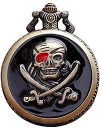 Gets Fashion Einzigartige Retro Stil Taschenuhr Steampunk Pirat Skull Totenkopf Lange Halskette für Halloween