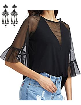 MODETREND Mujer Camisa Camiseta Transparente Tul Tapas Manga 3/4 Malla Blusa Slim T-shirt Tops