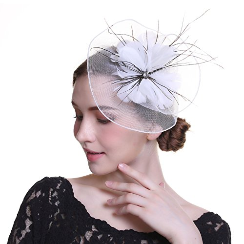 WELROG Eleganter Fascinator Hut Kentucky Derby Federn Kirche Deckel Blume Mesh (Weiß)