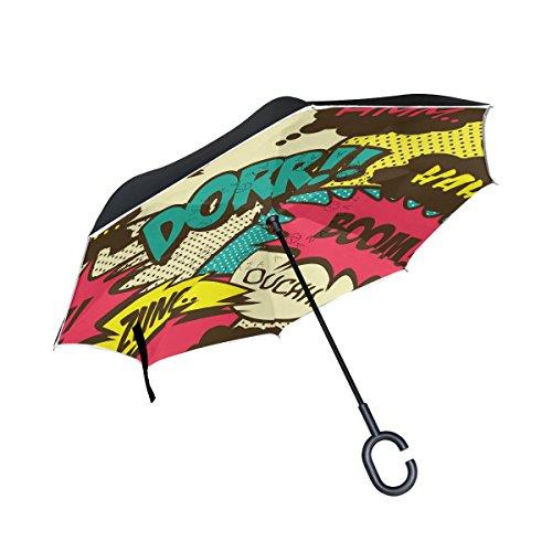 ALAZA Doble Capa invertido Paraguas Coches inversa Paraguas a Prueba de Viento cómico Retro Prueba UV Viaje Paraguas al Aire Libre