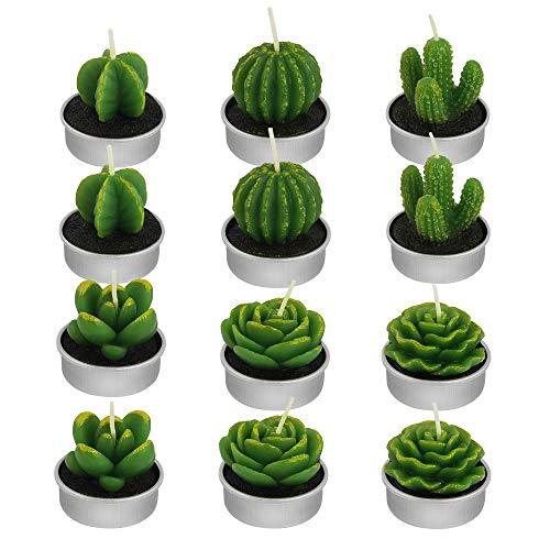 decareta 12 pezzi candela di cactus candele piantine mini candela fatta a mano delicato candela decorativa senza fumo per natale festa san valentino matrimonio, circa 4.2*3.5cm (verde)