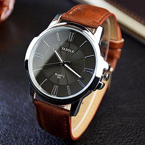 Fulltime® Hommes Luxe inoxydable Quartz Steel Band Dial cuir montre-bracelet Marron