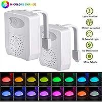 2 Pack WC Nachtlicht, UV Sterilization Mehrfarbige LED Toilette Licht  Lampe, Smartes Licht Sensor