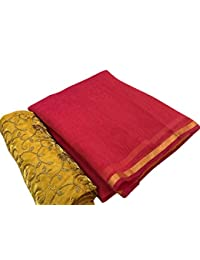 SilverStar Women's Red Color Chanderi Cotton Plain Saree With Embroidery Work Yellow Color Designer Blouse Piece