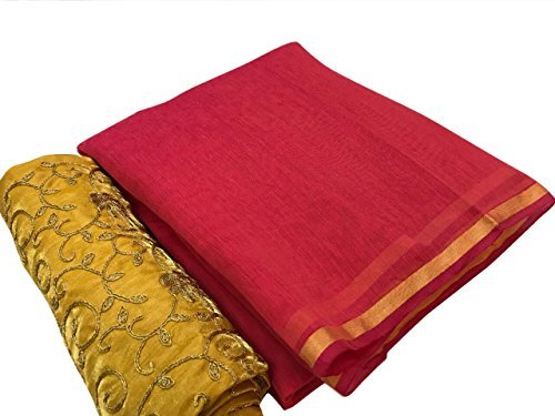 SilverStar Women's Red Color Chanderi Cotton Plain Saree With Embroidery Work Yellow...