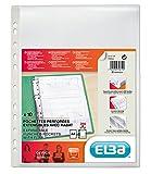 Elba - 100207008 - 10 Pochettes Perforées Capacité Extensible avec Rabat de Protection Polypropylène Lisse A4 Incolore