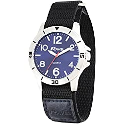 Ravel Work Watch with Fast Fit Action Grip Velcro Strap Men's Quartz Watch with Blue Dial Analogue Display and Black Nylon Strap R1601.63.16