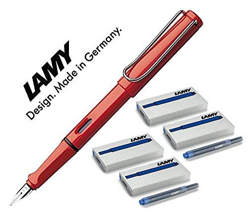 LAMY Füller SAFARI Füllhalter / Viele schöne Farben, auch im Set mit 20 Tintenpatronen in blau (Maxi mit 20 blauen Patronen, Rot (M)16) (Lamy Füllhalter-set)