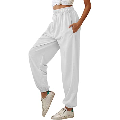 Nuofengkudu Donna Harem Jogger Pantaloni con Tasconi Vita Alta Larghi Lunghi Elastico Caviglia Classico Fitness Pantalone Running Sportiva