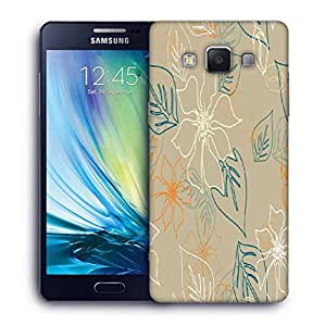 Snoogg Floral Sketch Cream Printed Protective Phone Back Case Cover For Samsung Galaxy A5