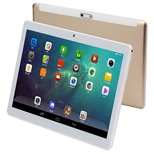 4G-LTE Tablet PC 10 Zoll Tablette Android 7.0 Octa-Core 1920x1200 HD IPS 4GB RAM 64GB ROM Dual SIM Phone Call WiFi Bluetooth OTG GPS 10.1 (Gold)