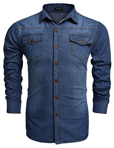 Coofandy Men's Denim Casual Shirts Long Sleeve Button Down