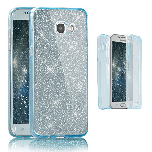 Vandot Samsung Galaxy A5 2016 Coque de Protection Etui Transparent Antidérapant Pour Samsung Galaxy A5 2016 Etui Protection Dorsale Étui Slim Invisible Housse Cover Case en TPU Gel Silicone Hull Shell Paillette-Bleu