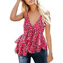 LuckyGirls_Chalecos de mujer Estampado Cuello en V Volantes Blusa Tirantes Camisetas Sexy Sin Mangas Verano Camisola