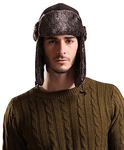 Baymate Hommes Hiver Chapeau Bonnet Trappeur Aviateur Faux Cuir Ski Montagne Oreilles Avec Masque Protecteur Brun
