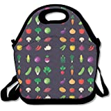 VEGETABLE Lunch Tote Bag Zipper Reusable Lunch Box With Shoulder Strap