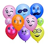 """KUMEED 12"""" Emoticon Face Expression Latex Multicolor Balloons Children Party Balloons Randomly Send Pack of 100pcs"""