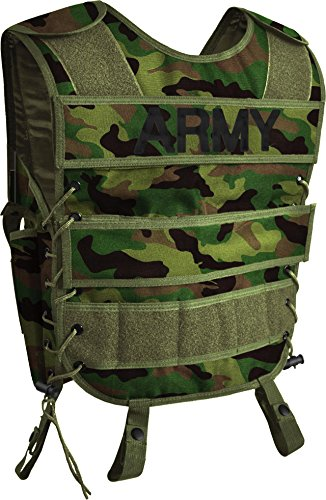 normani Taktische SWAT Weste mit Pistolenholster und abnehmbarem Schriftzug auf dem Rücken Farbe Army Größe XL/XXL