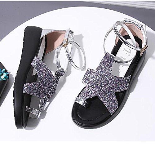 Pattini piani delle scarpe da spiaggia delle donne femminili 4cm (blu / viola / argento) ( Colore : Blu , dimensioni : EU39/UK6.5/CN40 ) Viola