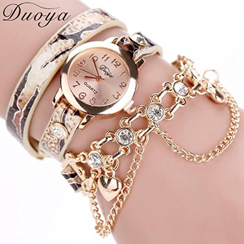 - 51cgASkeRwL - Duoya Luxury Analogue Display Quartz Watch,Omiky® Rhinestone Decorate Leather Band and Gold Alloy Bracelet Wrist Watches,Women's Waterproof Smartwatch with Gold Metal Dial Round Face Case (Gold)