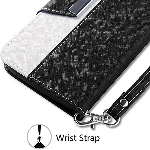 iPhone SE Custodia - Vakoo iPhone 5S Cover flip a portafoglio in pelle sintetica premium Protettiva Custodia per Apple iPhone 5/5S/SE (Nero Bianco)