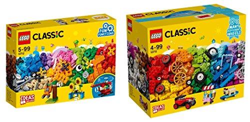 LEGO Classic 2er Set: 10712 Bausteine-Set - Zahnräder + 10715 Kreativ-Bauset Fahrzeuge