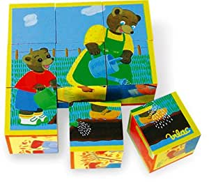 vilac jouets en bois jeu de 9 cubes petit ours brun. Black Bedroom Furniture Sets. Home Design Ideas