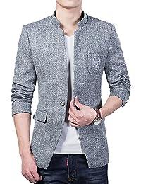 YOUTHUP Herren Freizeit Causual Tweed Blazer Sakko Business Hochzeit Slim  Fit 1 Knopf Kurzmantel 1d35808a98