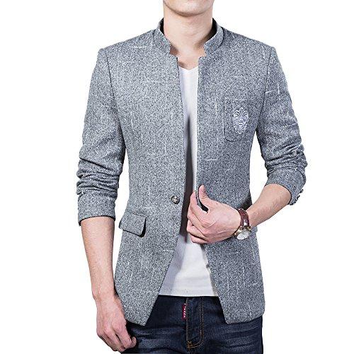 YOUTHUP Herren Freizeit Causual Tweed Blazer Sakko Business Hochzeit Slim Fit 1 Knopf Kurzmantel