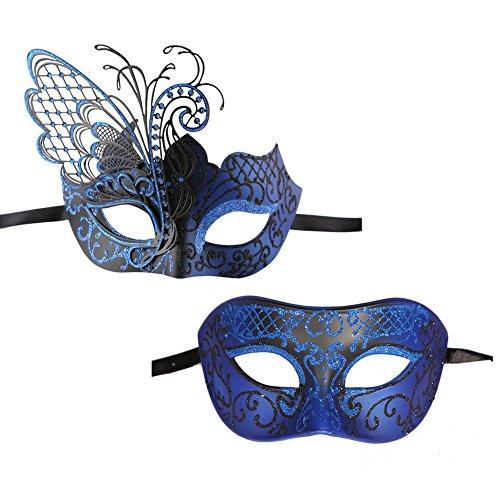 Xvevina 1 Paar Paare halbe Hochzeit Venezianische Masken Party Kostüme Zubehör Schmetterling Paar Schwarz Blau (Venezianische Maske Schmetterling)