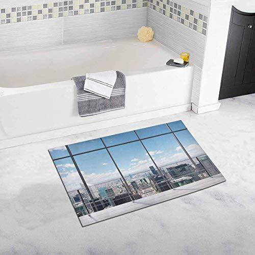 LIS HOME Modernes Manhattan Büro Blick auf die Stadt New York City Wohnkultur Rutschfester Badteppich Matten Saugfähiger Duschteppich für Badezimmer Badewanne Schlafzimmer (City New York Party-stadt)