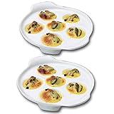 TAMUME 6 Hoyos Plato de Caracol de Cerámica y Porcelana Blanca Placa Caracol con Mango Fácil de Sostener (2pc)
