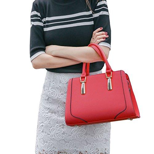DISSA ES848 neuer Stil PU Leder Deman 2018 Mode Schultertaschen handtaschen Henkeltaschen,300×130×205(mm) Rot