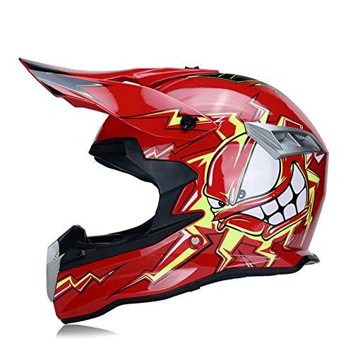 MRDEAR Casco Motocross Bambino - Rosso/Fumetto - Casco Integrale MTB con Fodera Rimovibile, Casco Moto Cross per Downhill Offroad Enduro Scooter Sport, Certificazione DOT,L