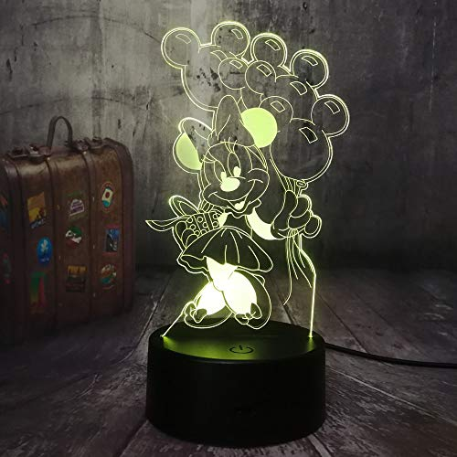 Neue Kawaii Nette Minnie Mouse Ballon 7 Farbe 3D LED Nachtlicht Schlaf Tischlampe Wohnkultur BABY Kinder Mädchen Geburtstagsgeschenk