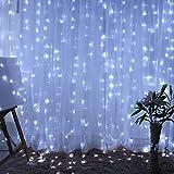 Cortina de Luces LED,AGM 3 * 3M 300LEDs Luces de Navidad al Aire Libre con 8 Modelos de lluminación para Decoración de Ventana, Patio, Jardín,Bar, Navidad, Día de San Valentín, Boda,etc(Blanco)