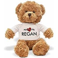 AdoptedBy TB1 Regan Teddy Bear Wearing a Personalised Name T-Shirt