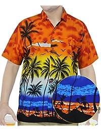 La Leela Hawaiana manga corta formal Camisetas| Beach Shirt camisa de cuello | Blusa Hombre Moda vestir | originales Casual regular fit XS - 5XL