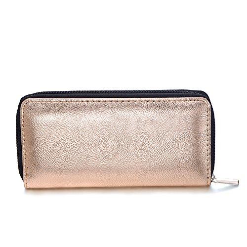 DonDon Portafoglio donna morbido aspetto metallico con chiusura lampo portamonete in grigio 20 x 10 x 2,5 cm Oro Rosa