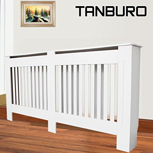 Tanburo copritermosifone, coperchio riscaldante, coperchio radiatore, verniciata bianca opaca,152 x 81.5 x 19 cm