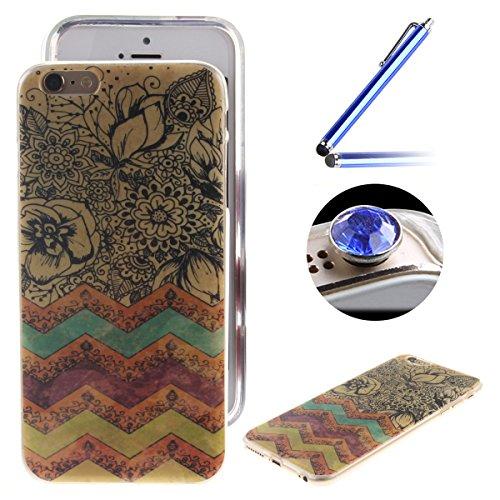 Etsue Case Pour Apple iPhone 6/6S,Ultra-minces TPU Silicone Coque Pattern étui Pour Apple iPhone 6/6S, Rim jante est Transparent Housse Mode Motif Cover pour Apple iPhone 6/6S + 1 x Bleu stylet + 1 x  Retro rayures
