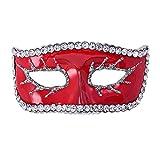 Eizur Unisexe Halloween Masque Broche et Pin Cristal Strass Corsage Accessoire pour Halloween Parti Décoration Cadeau--Rouge