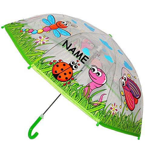 """Regenschirm - transparent - """" Biene, Marienkäfer & Schmetterling """" - incl. Name - Kinderschirm Ø 78 cm - Kinder Stockschirm - für Mädchen Jungen - durchsichtig - Schirm Kinderregenschirm / Glockenschirm - Tiere Wiese - Schnecke Blumen - durchsichtig / Blüten - durchscheinend - Schnecken Wiesentiere"""