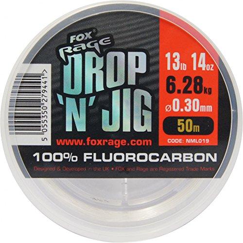 Fox Rage Fluocarbon Schnur Drop \'n\' Jig 50m, Angelschnur für Vorfächer, Vorfachschnur zum Spinnfischen, Durchmesser/Tragkraft:0.30mm / 6.28kg Tragkraft