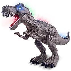 Mamum dinosaurio de juguete tiranosaurio con música ligera, caminando sonidos dinosaurio de juguete tiranosaurio rex y luces que cambian de color